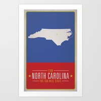 north carolina Art Prints featuring NORTH CAROLINA by Matthew Justin Rupp