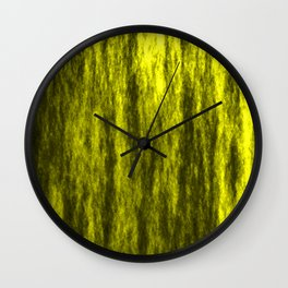 Bright texture of coated paper from yellow flowing waves on a dark fabric. Wall Clock