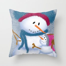 The SnowMomma And SnowGirl Throw Pillow