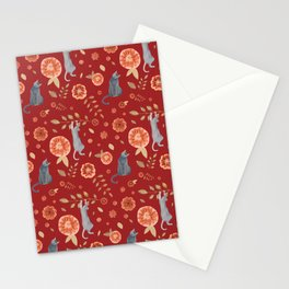 IT'S A CATS' WORLD! Burgundy Red Palette Stationery Cards