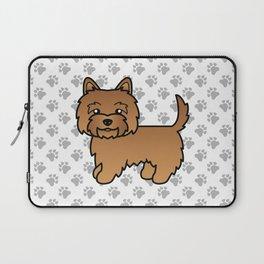 Cute Red Cairn Terrier Dog Cartoon Illustration Laptop Sleeve