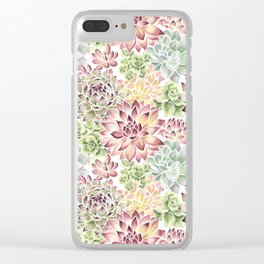 Bright Watercolor Succulents Clear iPhone Case