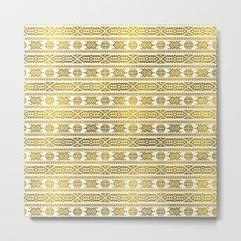 Gold  Aztec Peruvian Tribal Pattern Metal Print