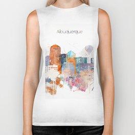Colorful Albuquerque watercolor skyline Biker Tank