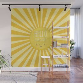 KAWAII SKY - happy smiling sun - hello sunshine quote Wall Mural