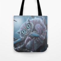 cheshire cat Tote Bags featuring Cheshire Cat by Annelies202