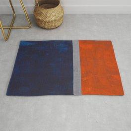 Minimalist Mid Century Rothko Color Field Navy Blue Dark Orange Grey Accent Square Color Block Rug