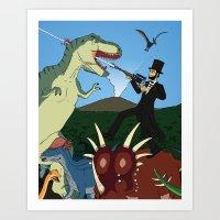 Abraham Lincoln Dinosaur Hunter Art Print