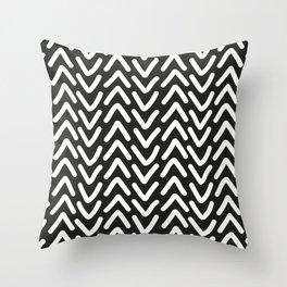 chevron white on black Throw Pillow