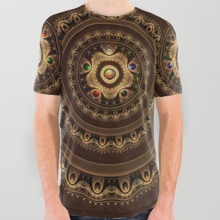 Gathering the Five Fractal Colors of Magic All Over Graphic Tee