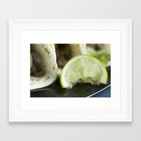 lime green Framed Art Prints featuring Lime by Jessica Dewhurst