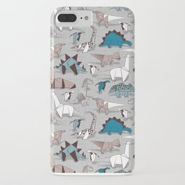 Origami dino friends // grey linen texture blue dinosaurs iPhone Case