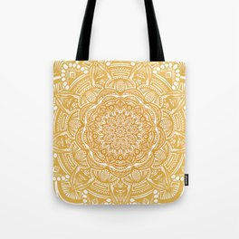 Golden Mustard Yellow Orange Ethnic Mandala Detailed Tote Bag