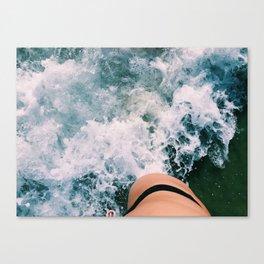 Beach Waves Crashing Canvas Print