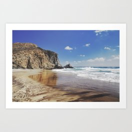 Barronal beach. Waves retro Art Print