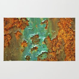Rust and Deep Aqua Blue Abstract Rug