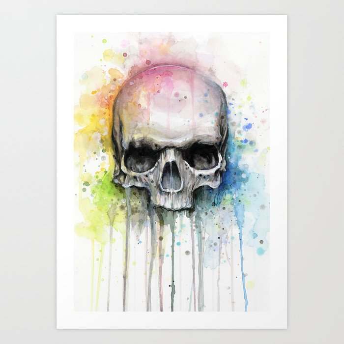 Skull Rainbow Watercolor Art Print By Olechka