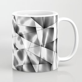 Exclusive deep mosaic monochrome pattern of chaotic black and white glass fragments, metal, glare. Coffee Mug