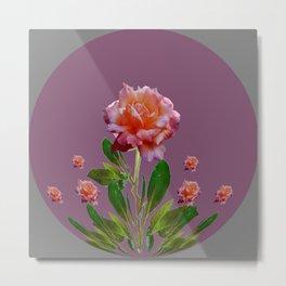 PUCE-GREY PINK ROSE GARDEN ART Metal Print