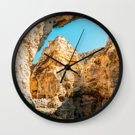 Natural Rock Formations In Lagos, Algarve Portugal, Travel Photo, Large Printable Photography Wall Clock