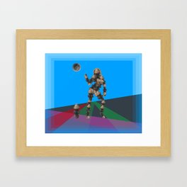Sexy pump 1. On multicolored background. (Predominance of light blue) Framed Art Print