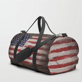Wood American flag Duffle Bag