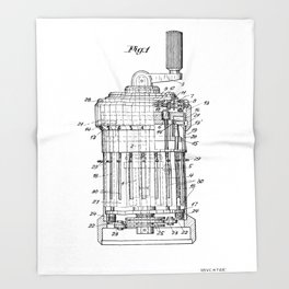 Curta Mechanical Calculator Patent Drawing (3 of 3) Throw Blanket