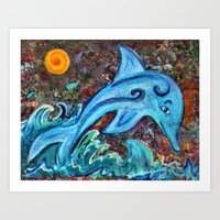 dolphin Art Prints featuring Dolphin by gretzky