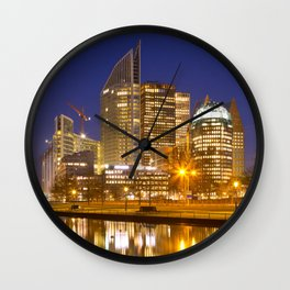 City of The Hague, The Netherlands at night Wall Clock