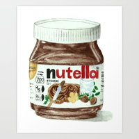 nutella Art Prints featuring Nutella by Owl Feather Studio