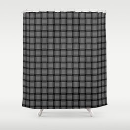 Small Dark Gray Weave Shower Curtain