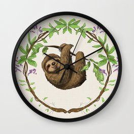 Sloth in Jungle Wreath Wall Clock