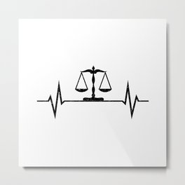 Scales Of Justice Heartbeat Lawyer Judge Metal Print
