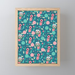 Owls and flowers in blue Framed Mini Art Print