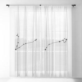 Pisces Star Sign Black & White Sheer Curtain