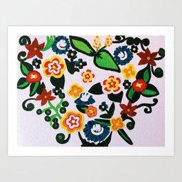 Floral Heart Slavic Motive Wall Art Home Decor Art Print