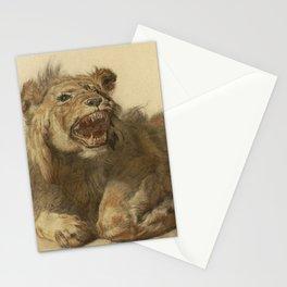 Cornelis Saftleven - A Lion Snarling Stationery Cards
