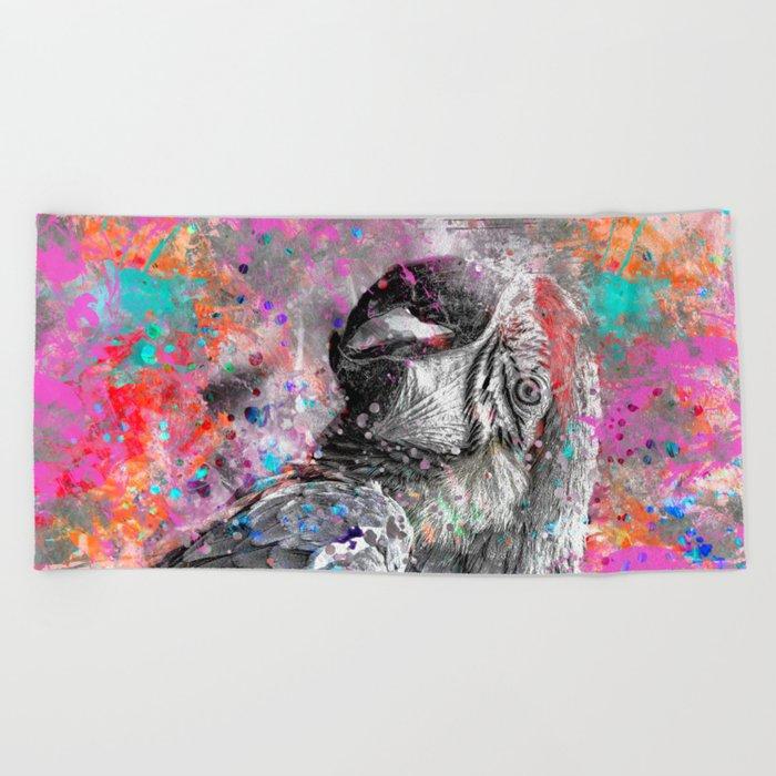 artsy parrot mixed media art Beach Towel