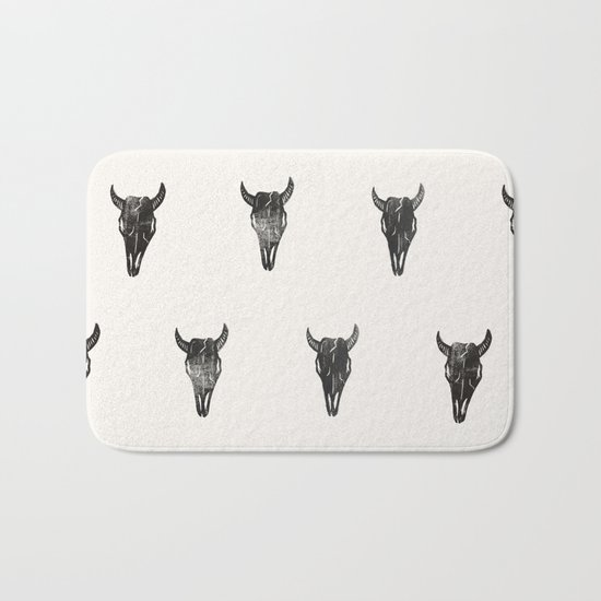Stamped Skull Bath Mat