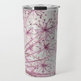 Vintage Raspberry Pink and Paris Gray Botanical Queen Anne's Lace Wildflower Travel Mug