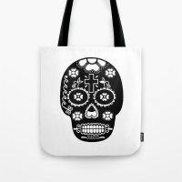 dia de los muertos Tote Bags featuring DIA DE LOS MUERTOS by RIGOLEONART