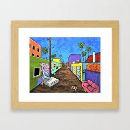 Los Angeles Alley (Original Acrylic Painting) by Mike Kraus - LA art street graffiti california Framed Art Print