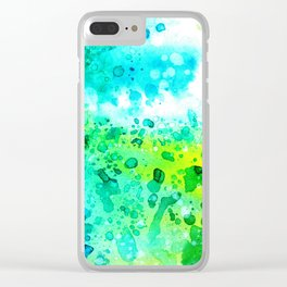 Watercolor abstract art in yellow,turquoise and green Clear iPhone Case