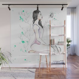 Yoga with her Cat Wall Mural