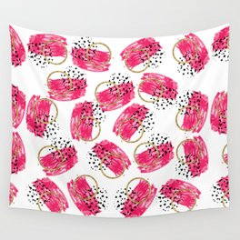 Abstract Black Pink and Faux Gold Brushstrokes Wall Tapestry