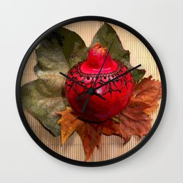 Henna Inspired Hand Painted Pomegranate  Wall Clock