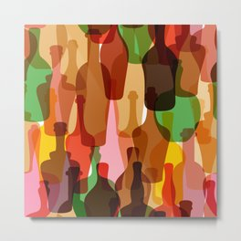 Colored silhouettes of wine bottles.  Metal Print