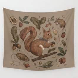 Red Squirrel Wall Tapestry