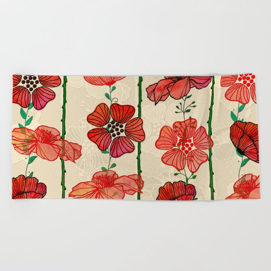 Hanging Poppy Garland Beach Towel