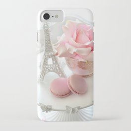 Shabby Chic Paris Pink Macarons Eiffel Tower Roses Romantic Prints and Home Decor iPhone Case